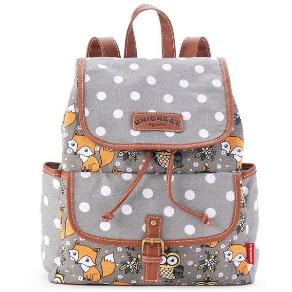 Unionbay Fox & Owl Polka-Dot Backpack (Grey) ($23) ❤ liked on Polyvore featuring bags, backpacks, backpack, grey, fox backpack, owl bag, polka dot backpack, military rucksack and knapsack