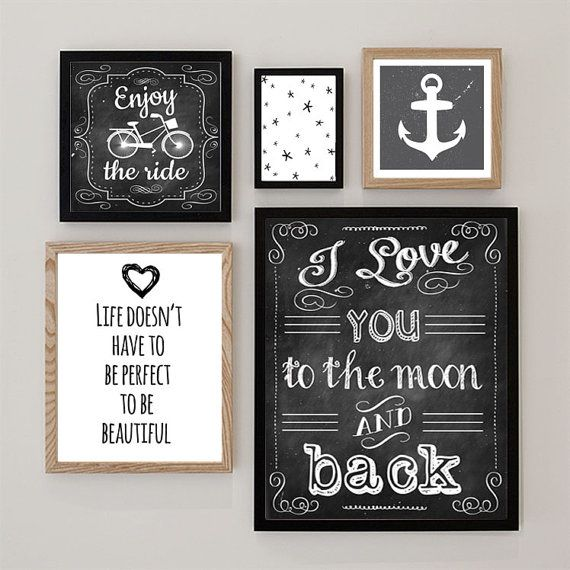 Set van 5 prenten Zwart Wit Illustratie Posters door DesignClaud - 5 prints in black and white with quotes and chalkboard prints.