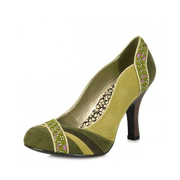 Ruby Shoo Heather Moss Green Faux Suede High Heel Court Shoes ($60) ❤ liked on Polyvore featuring shoes, pumps, faux suede shoes, heel pump, ruby shoo, green pumps and green shoes