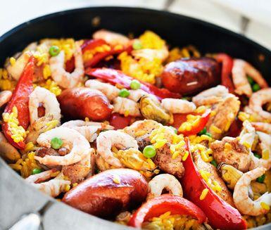 Paella+med+kyckling+och+skaldjur