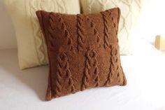 Chocolate de punto funda de almohada, árboles de punto almohada cubierta, marrón decorativo almohada sofá, 16x16 funda de cojín de punto, tirar almohada, la almohada de Navidad