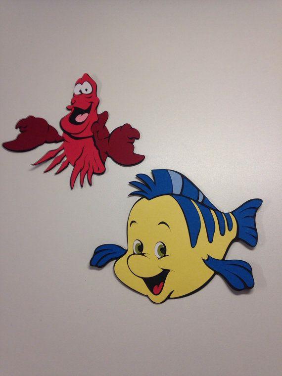 Flounder and Sebastian die cuts. Set of 6 Total | Set Of ...