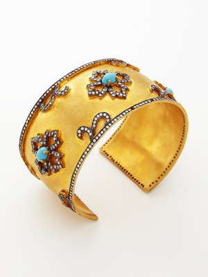 Kanupriya Gold & Turquoise Floral Cuff: Floral Cuffs, Cuffs Bracelets, Turquoise Floral, Jewelry Editing, Turquoi Floral, Gold Cuffs, Gold Turquoi, Products, Jewelry Bling