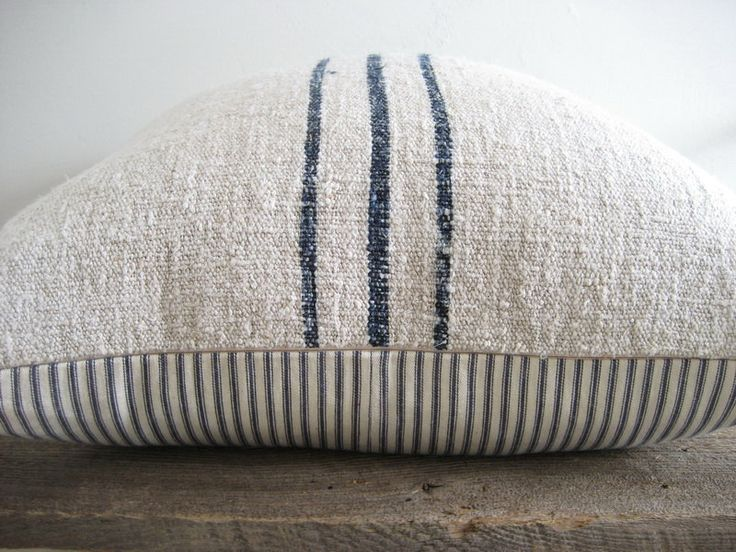 antique linen + french grain ack + ticking   -  oh love this!