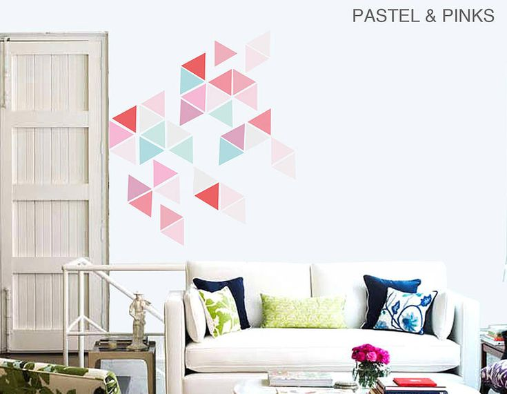 A BRILLIANTLY STYLISH WAY TO ADD SOMETHING INTERESTING AND FUN TO YOUR HOME. USE THESE TRIANGLES TO CREATE SHAPES AND PATTERNS ON YOUR OWN WALLS.
