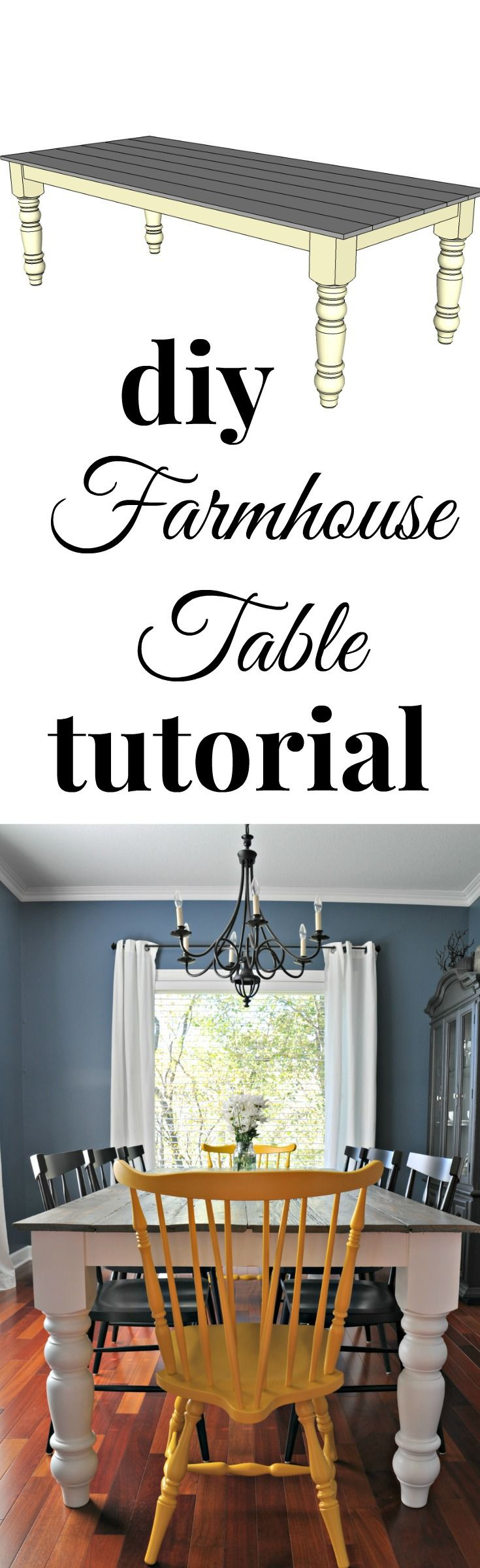 DIY farmhouse table tutorial.