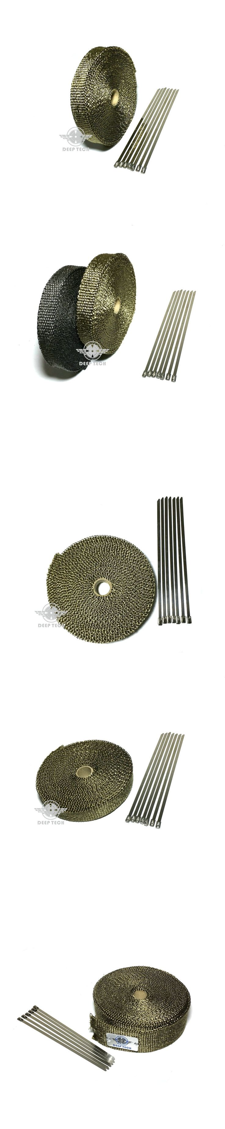 15m/50ft x 2inch Thermal Exhaust Tape Titanium Exhaust Heat Tape Lava Exhaust Wrap For Motorcycle Exhaust Pipe With Cable Ties