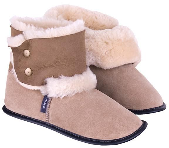 Men's and Ladiesreverse high-cut sheepskin slippers are extra cozy with a sheepskin collar that covers the ankles and keeps the cold out