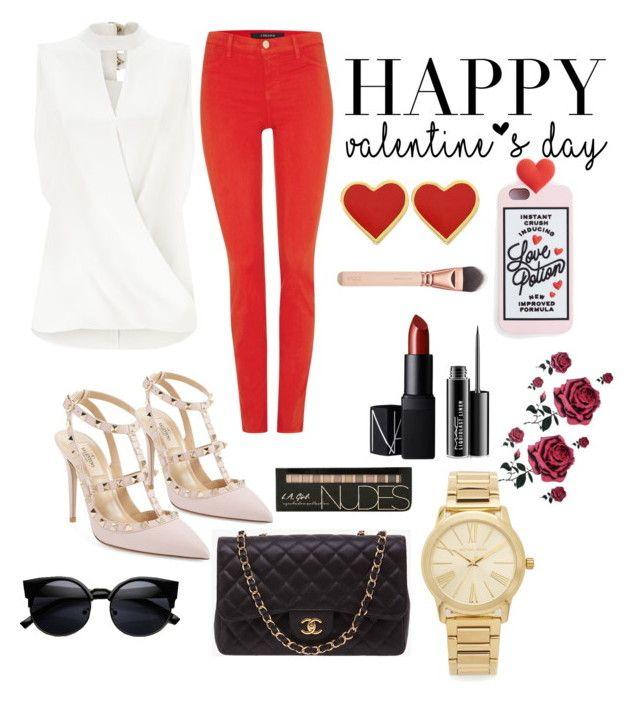 """set #25 (valentine's day) by uberwine"" by uberwine on Polyvore featuring Miss Selfridge, J Brand, Valentino, Chanel, Michael Kors, NARS Cosmetics, MAC Cosmetics, women's clothing, women and female"