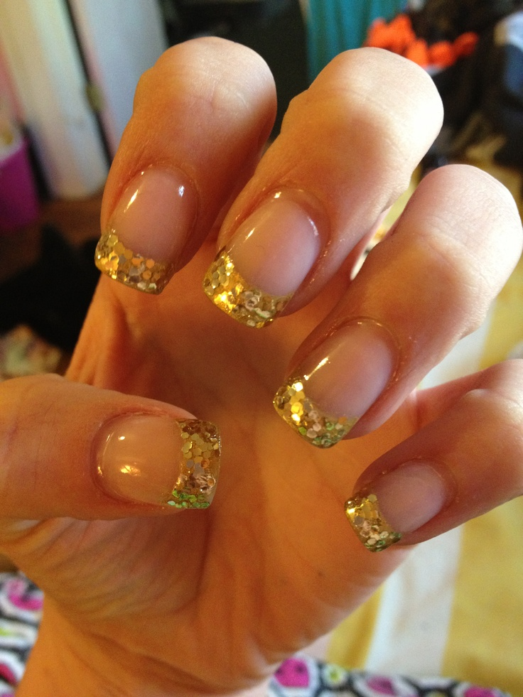 gold sparkle glitter tips nails acrylic nail tip design