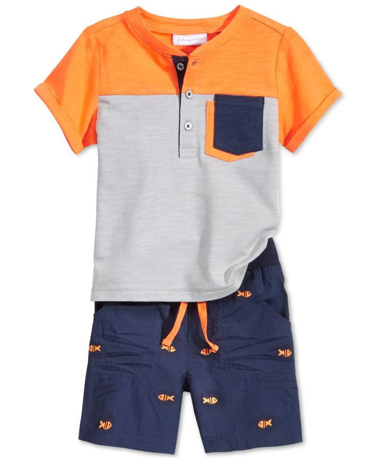 First Impressions Baby Boys' 2-Piece Henley Shirt & Shorts Set, Only at Macy's