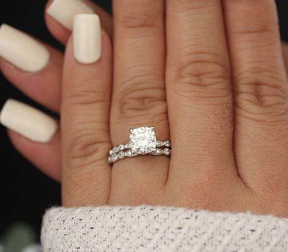 Moissanite 14k White Gold Engagement Ring, Cushion 7.5mm Moissanite Ring, Diamond Milgrain Band, Solitaire Ring, Promise Ring