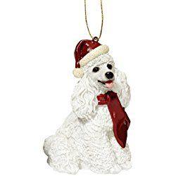 Design Toscano White Poodle Holiday Dog Ornament Sculpture, Full Color