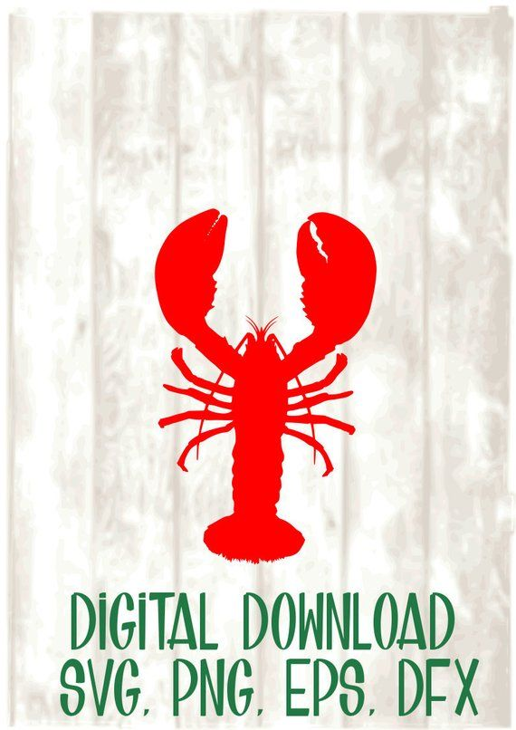 Simple Red Lobster Svg Png Eps Dxf Digital Files Only Cricut Silhouette Beach Summer Eps Svg Dxf