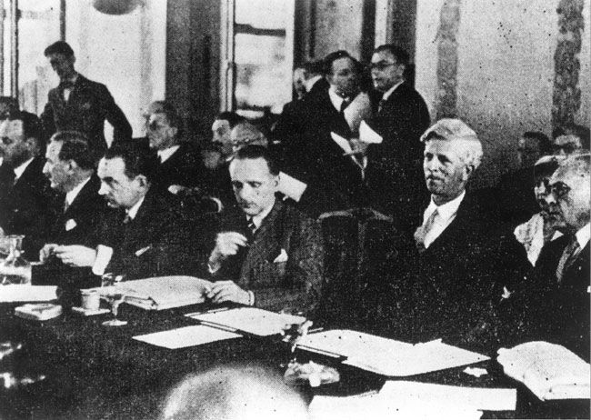 Between July 6-15,1938, representatives of 32 countries met in Evian, France to discuss the international refugee problem. The various countries' delegates explained why they could not take in masses of refugees from Germany and Austria. The conference achieved almost no success in opening any country's gates to the refugees, and by the time it adjourned, there was a public consensus that it had failed to find them a safe haven.