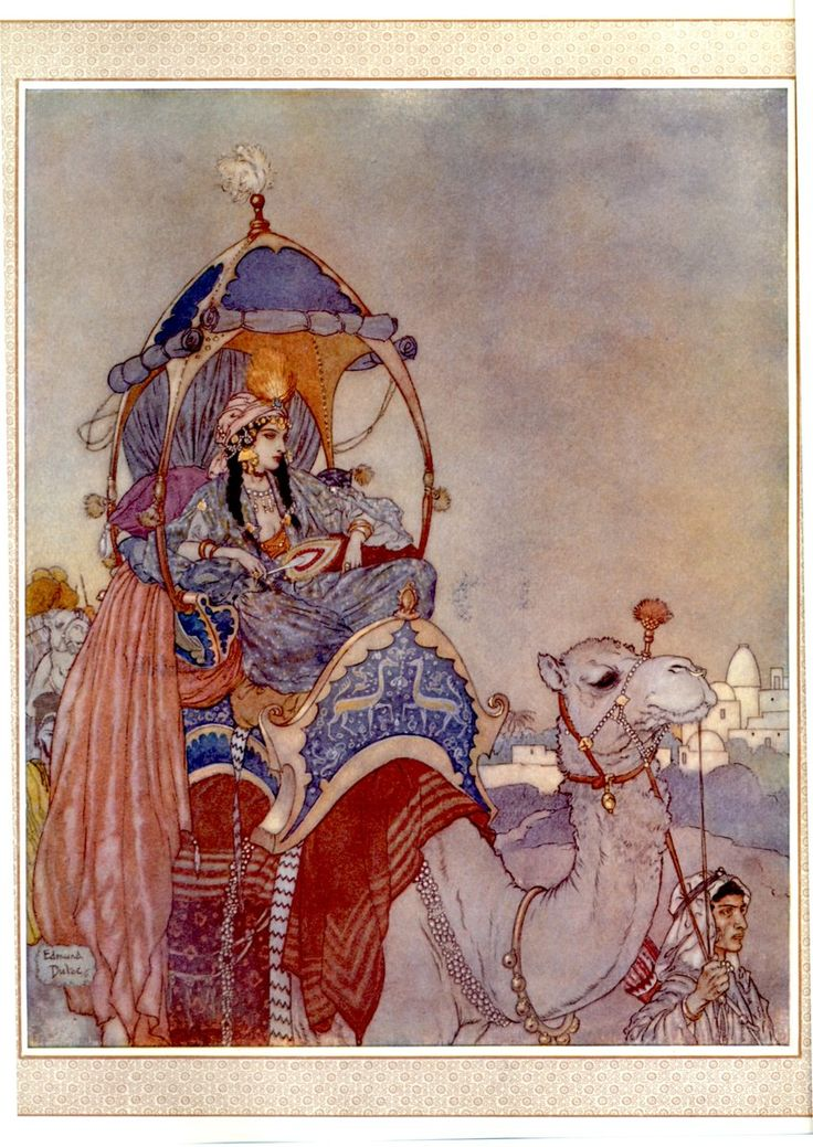 (Fine example of Dulac doing islamic myth illustration)  The Queen of Sheba ~ Edmund Dulac