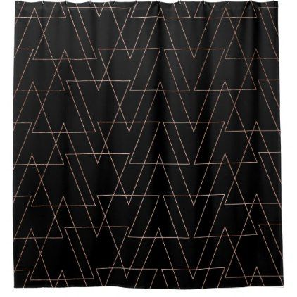 Modern rose gold geometric thin triangles black shower curtain - shower curtains home decor custom idea personalize bathroom