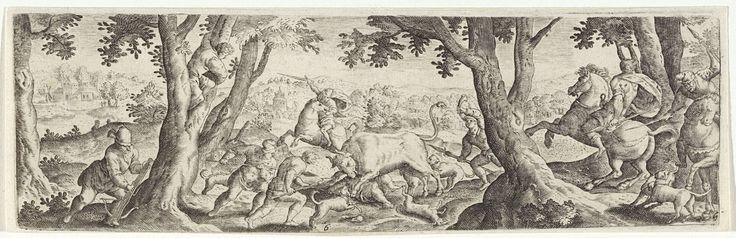 Anonymous   Stierenjacht, Anonymous, Hans Bol, Frederik de Wit, 1631   Stierenjacht in een bos. In het midden vertrapt een stier een jager, terwijl gewapende jagers en honden toesnellen. Eén jager blaast op een jachthoorn. Enkele jagers zijn te paard.