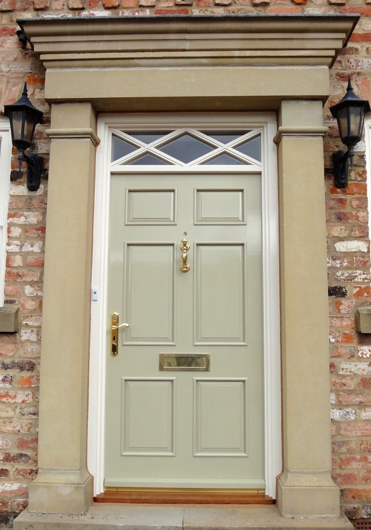 Bespoke front door, Broughbridge. Painted in Farrow & Ball green. www.statementjoinery.com