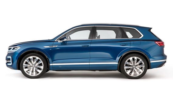 Концепт Фольксваген Т-Прайм / VW T-Prime ставший прототипом для внедорожника Volkswagen Touareg 2018 / Фольксваген Туарег 2018 – вид сбоку
