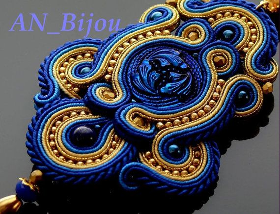 Hey, I found this really awesome Etsy listing at https://www.etsy.com/listing/218219520/sapphire-gold-soutache-pendant