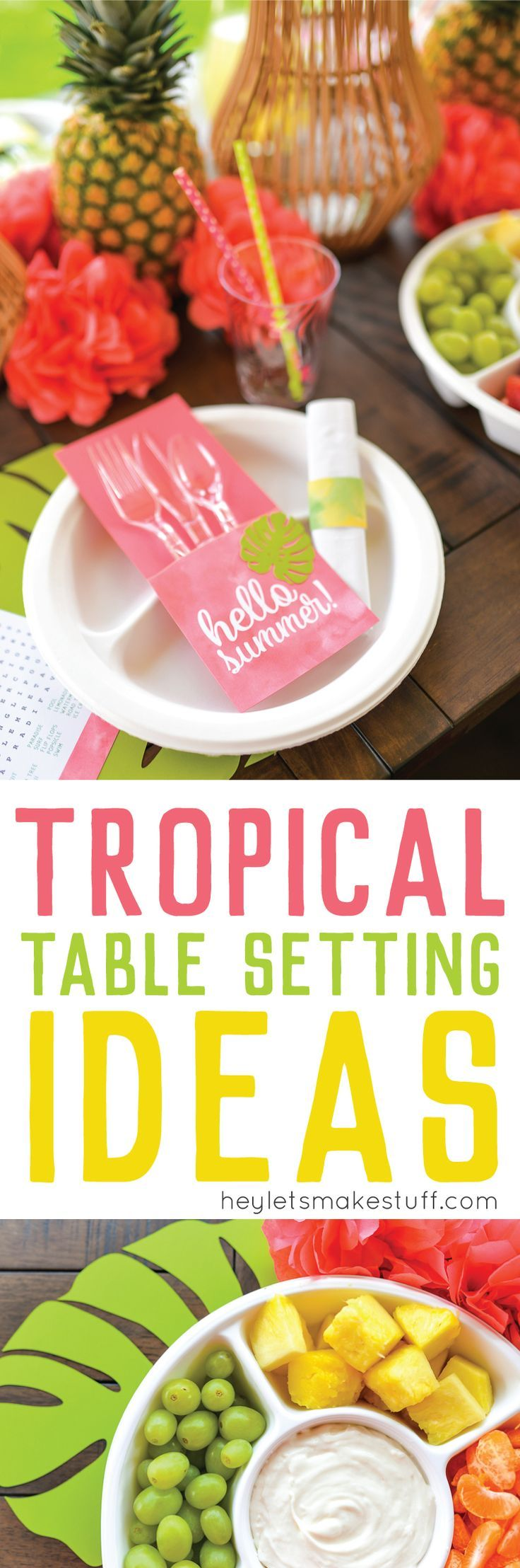 If you're longing for the Caribbean, here are some fun tips and tricks to create your own tropical table setting at home! Includes free printable files, too! #ad #MyChinetParty