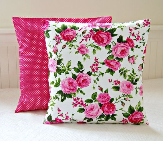 Pink Shabby Chic Throw Pillows : Pink roses shabby chic cushion cover, 16 inch cerise pink decorative pillow cover Awesome ...