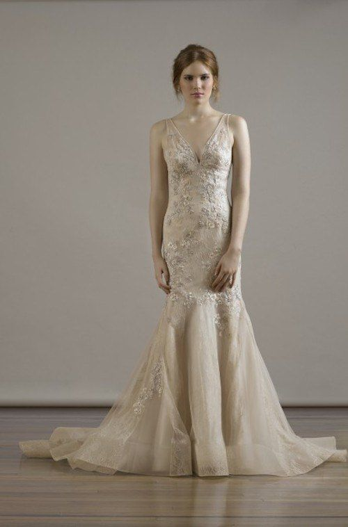 This remarkable gown looks stunning even in champagne. For the brides looking to break out of the white wedding dress tradition, this option is splendid. Fall 2015 Liancarlo Wedding Dresses