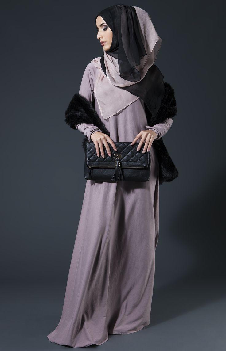 Mulberry Pinky Lilac, Pink Pepper Chiffon Hijab & Luxury Black Stole.
