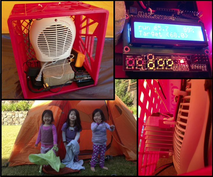 Arduino-controlled heater for cold-weather backyard camping.  Tent is PID regulated with PWM heating element to +/- 3 degrees.  Arduino + LCD shield + solid-state relay + DS18B20 temperature sensor.