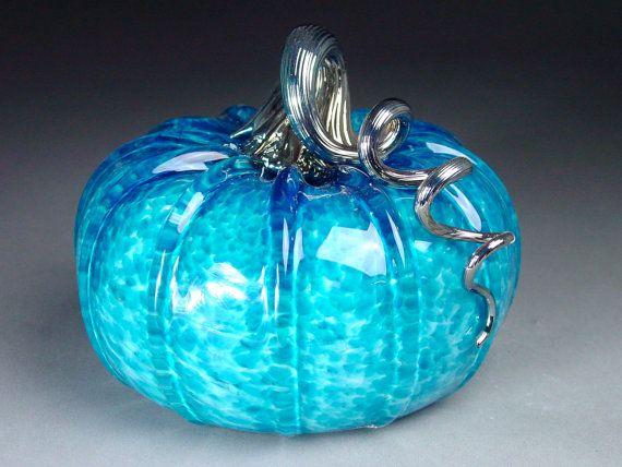 beautiful hand blown glass pumpkin in jewel tone
