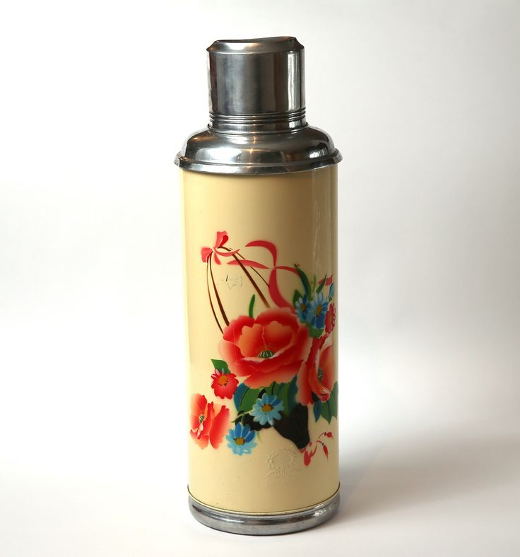 Vintage Aluminum Thermos Quot Sunflower Quot With Flowers Vintage