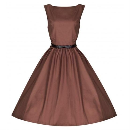 Retro šaty Lindy Bop Audrey Cognac