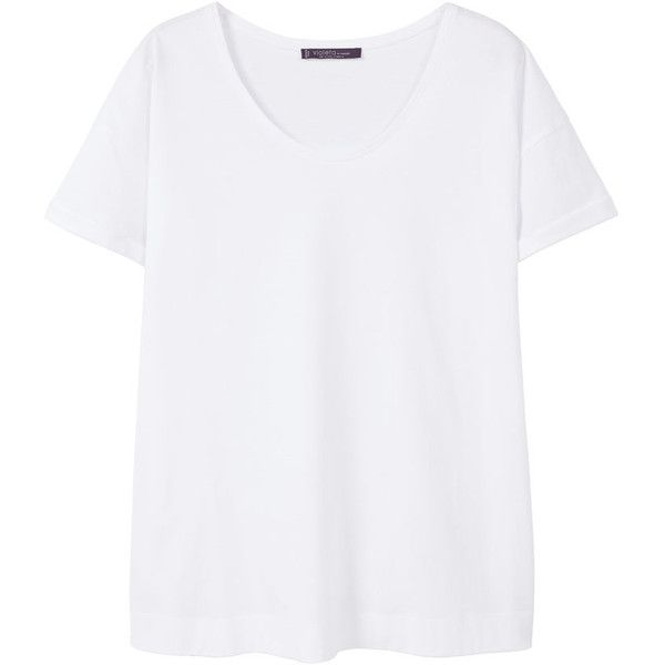 Essential Cotton T-Shirt (£9.99) ❤ liked on Polyvore featuring tops, t-shirts, round neck t shirt, short sleeve tops, short sleeve tee, short sleeve t shirt and white top