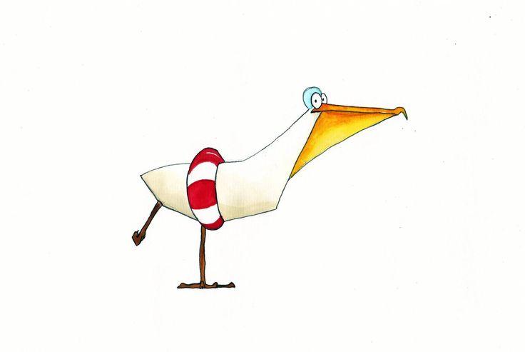 Pelican illustration / painting bird animal character swimming pool /