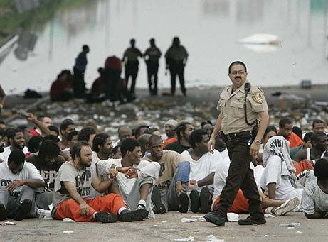 """The Fate of Prisoners during Hurricane Katrina - (source)Most of the 7,000 prisoners had been charged with misdemeanor offenses and would have been released within a few weeks, even if convicted. But Governor Blanco effectively suspended habeas corpus (due process; right to a speedy trial) for six months, so some were incarcerated for over a year – doing """"Katrina time.""""""""(source). Prison officials deny that anyone died in the crisis,"""
