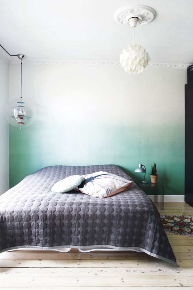 Green And White Ombre Painted Bedroom Wall