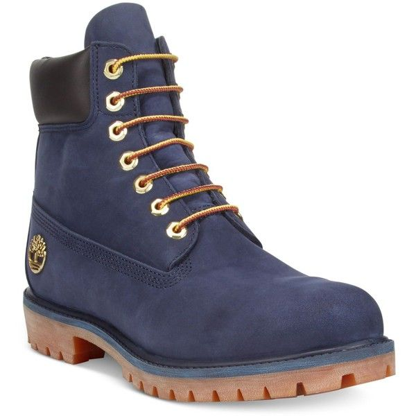 """Timberland Men's 6"""" Boots ($190) ❤ liked on Polyvore featuring men's fashion, men's shoes, men's boots, navy, mens rugged boots, timberland mens shoes, mens navy boots, mens water proof boots and rugged mens shoes"""
