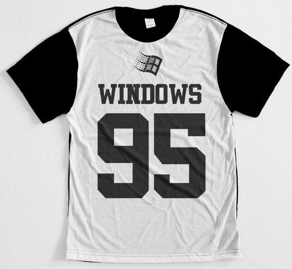 Windows 95 yin and yang internet culture 90s cyber punk jersey T-shirt
