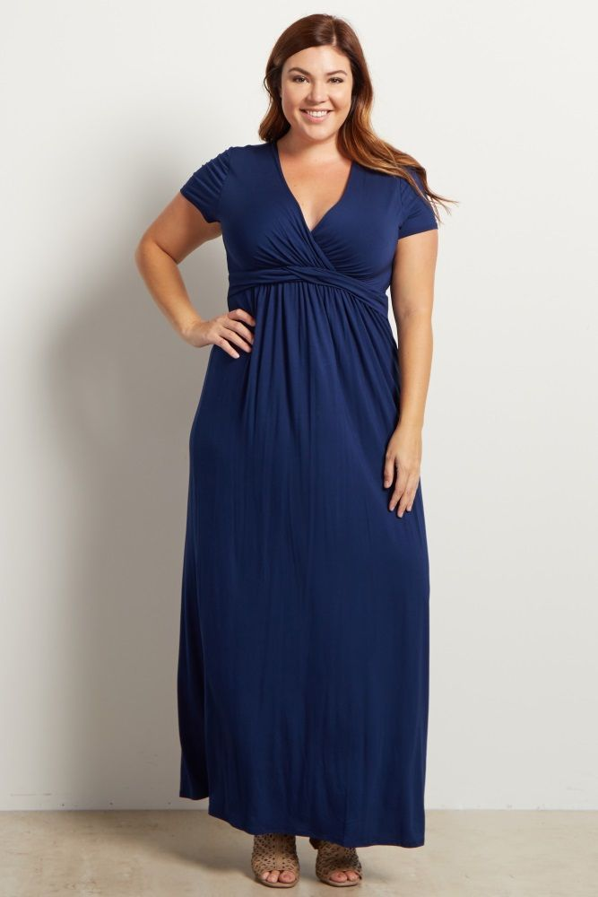 next family photo? Navy Blue Draped Plus Size Maxi Dress ...