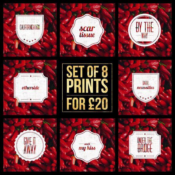 Set of 8  Red Hot Chilli Peppers Song Title by LittlePuffinPrints #musicposters #musictypography #design #poster #musiclyrics #esty #etsyshop #ebay #giftidea #homedecor #mancavedecor #mancave #wallart #quoteprints #musicprints #songart #fanart #setofprints #miniprints #redhotchillipeppers #chillipeppers #californication #underthebridge #rockmusicposter #rocksongs