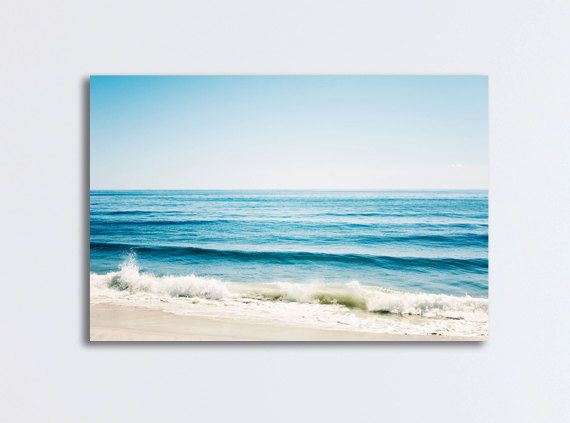 "Seascape Ocean Canvas - large sea gallery wrap beach canvas gallery wrap blue white wave photography large wall print shore, ""Forever Blue"" on Etsy, $100.00"