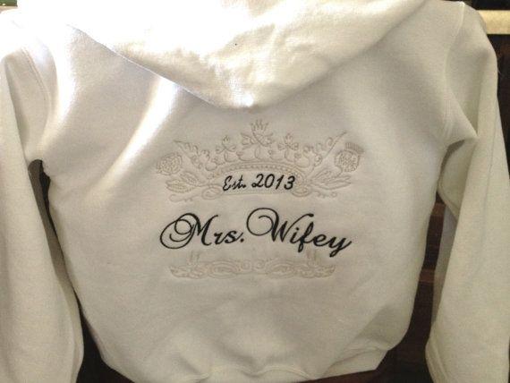 Mrs. Kellams Mrs. Sweatshirt  Hoodie Honeymoon Bridal shower by Embroideryworld, $38.99