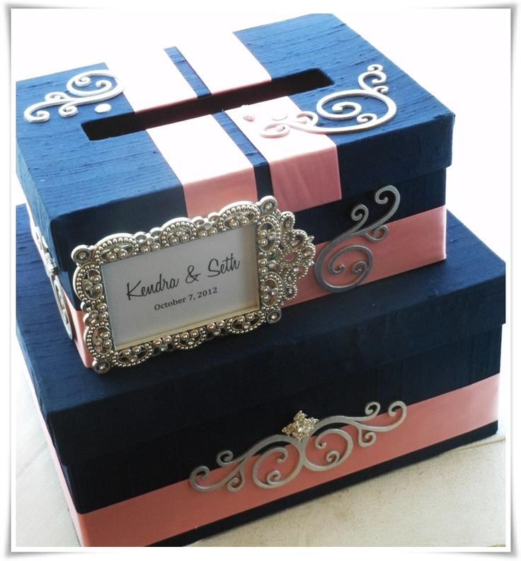 navy and coral wedding card box with rhinestone frame, pretty!