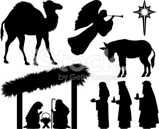 Nativity silhouettes royalty-free stock vector art