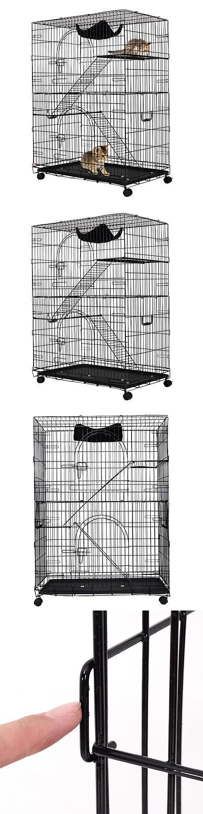 Animals Cats: 2-Tier Cat Playpen Cat Cage With 2 Climbing Ladders And 2 Rest Benches And Hammock -> BUY IT NOW ONLY: $67.99 on eBay!