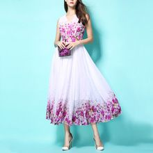Европейская Мода 2016 Лето V-образным Вырезом Без Рукавов Шифон Платье Богемный Печати Длинное Платье Расширение Нижней Богемный Пляж Платье(China (Mainland))