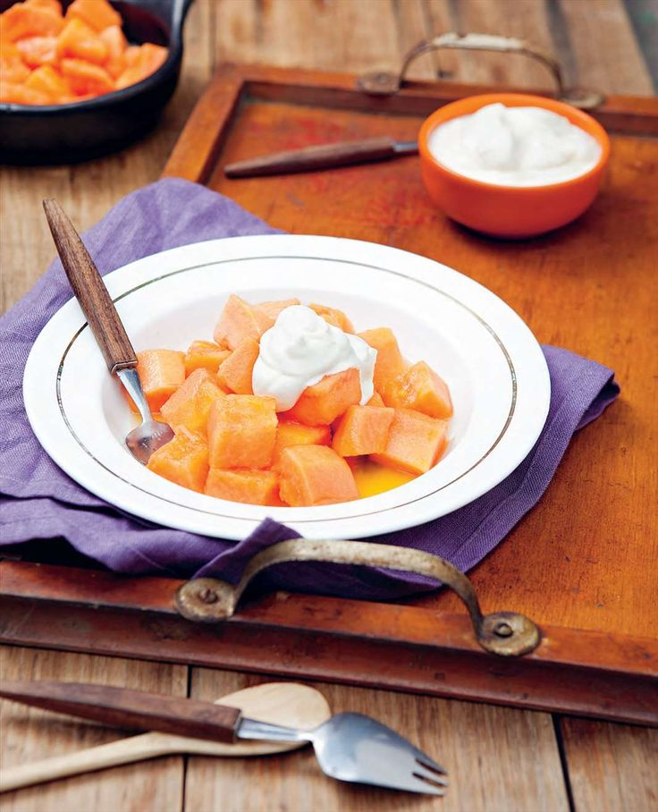 Chilean spiked papaya with cream by Rachael Lane from South American Grill | Cooked