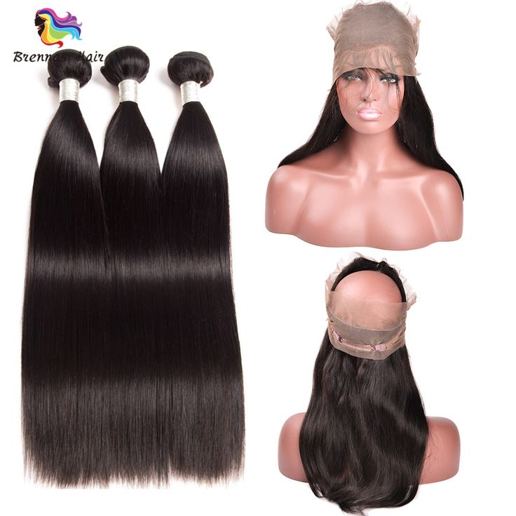 Mink Silky Straight 3bundles with 360 lace frontal closure with baby hair For Black Women Brazilian virgin Hair - $89.97