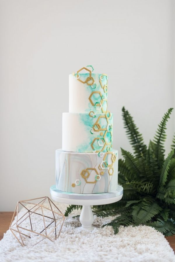 Geometric & Water color Marble Wedding Cake | Hayley Rae Photography